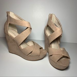 NEW Chinese laundry suede peep toe wedges